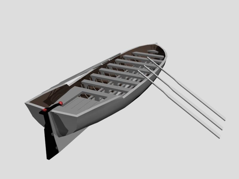 Row Boat 3d rendering