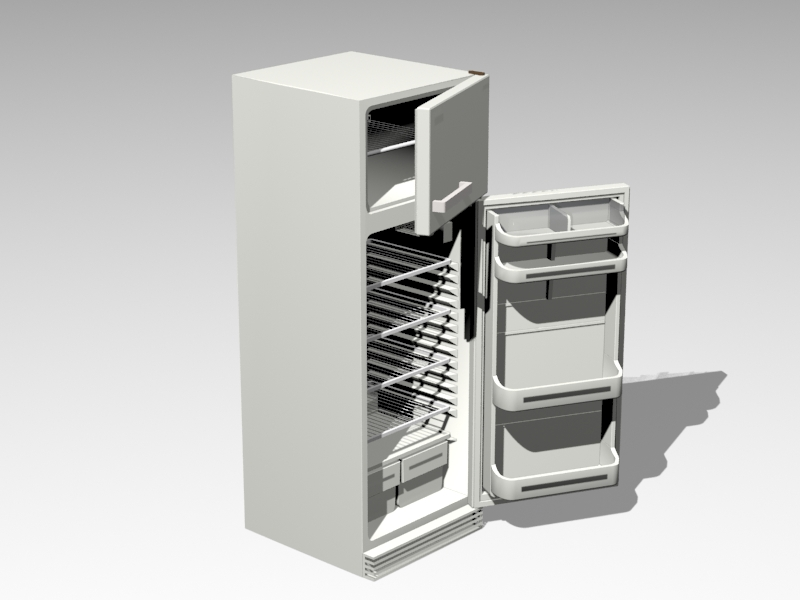 Open Refrigerator 3d rendering
