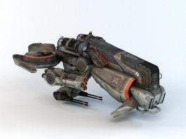 Futuristic Gunship 3d preview