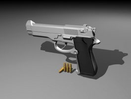 Pistol & Bullets 3d model preview