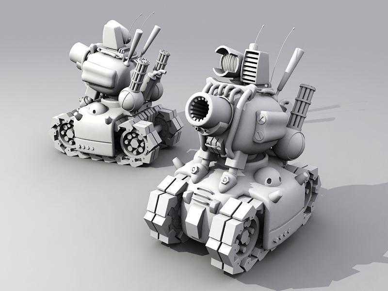 Cartoon Tank 3d rendering