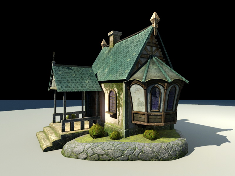 Anime Beautiful House 3d rendering
