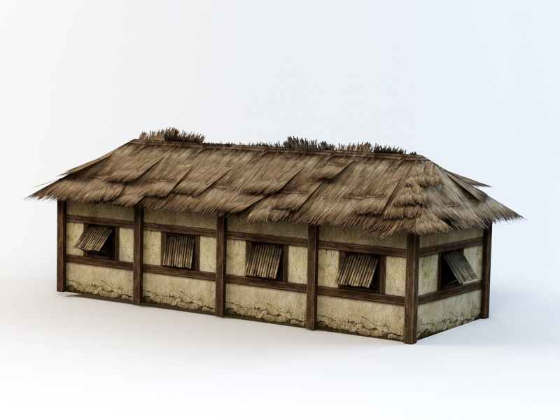 Thatched Folk House 3d rendering