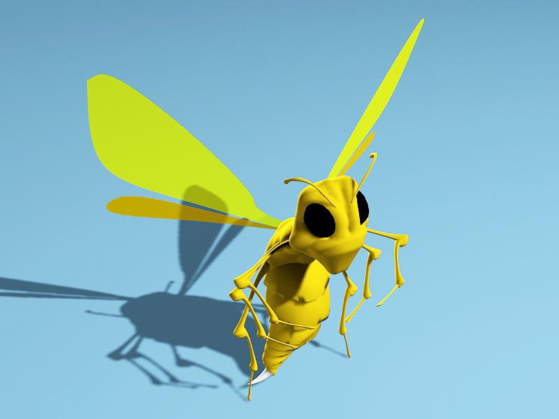 Wasp Cartoon 3d rendering