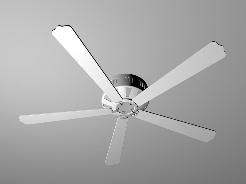White Ceiling Fan 3d rendering