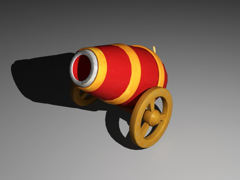 Old Cartoon Cannon 3d rendering