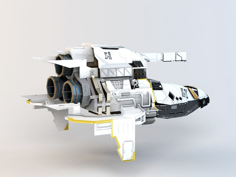 Sci-Fi Assault Gunship 3d rendering