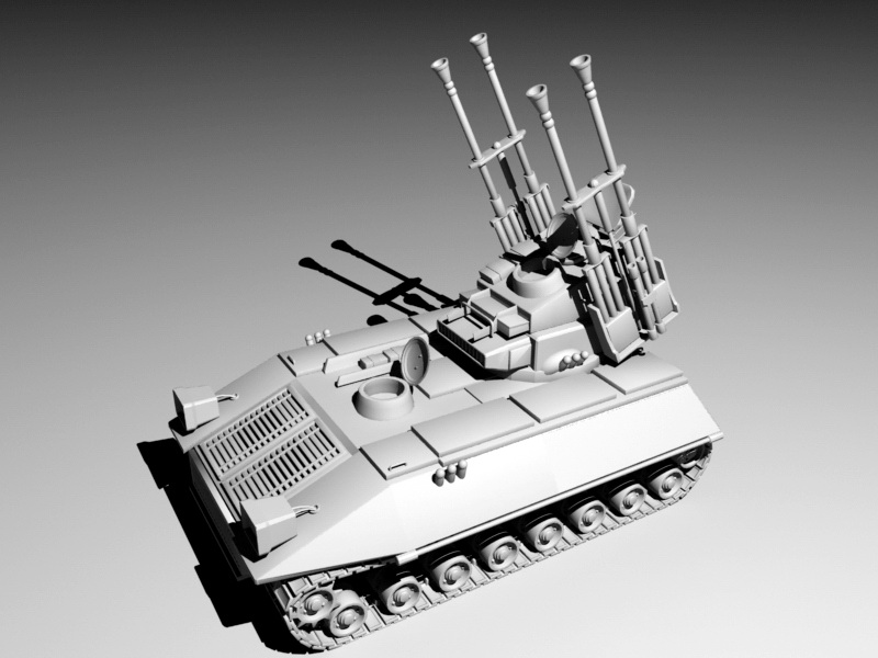 Self-Propelled Anti-Aircraft Gun Rig 3d rendering