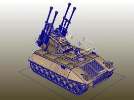 Self-Propelled Anti-Aircraft Gun Rig 3d preview