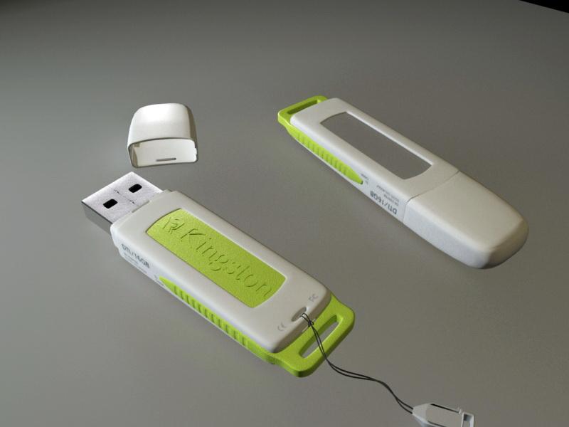 Kingston DataTraveler USB 3d rendering