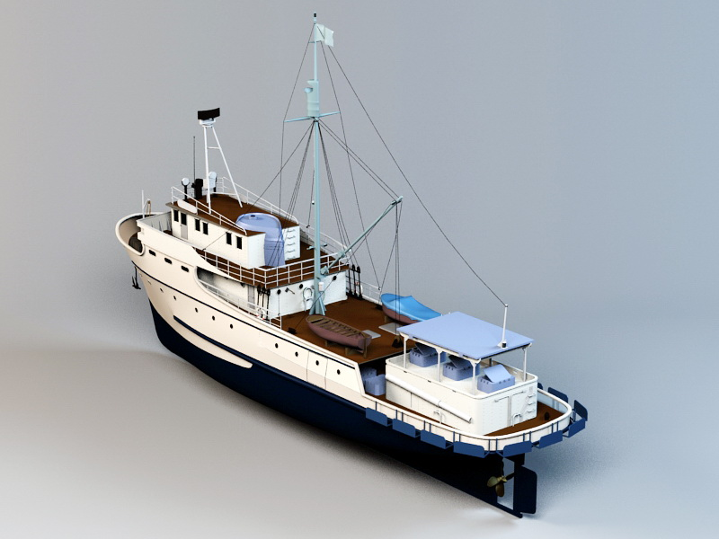 Commercial Fishing Boat 3d rendering