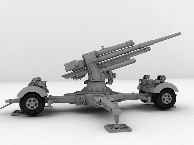 Flak 36-37 88mm Anti-aircraft Gun 3d rendering