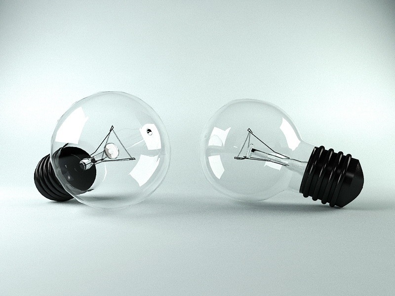 Incandescent Light Bulb 3d rendering