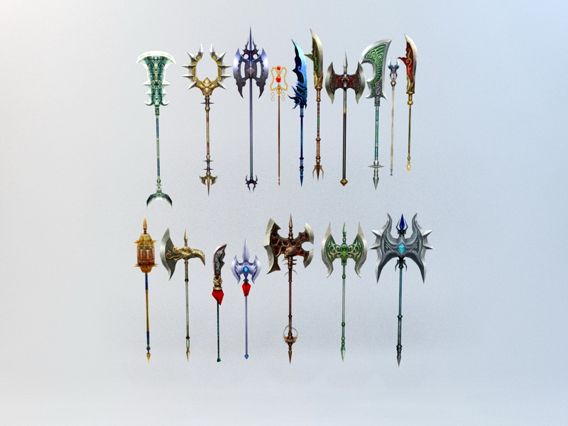Feudal Chinese Polearms 3d rendering