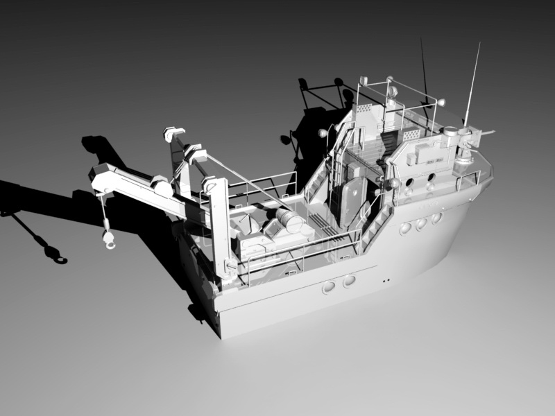 Whale Vessel 3d rendering