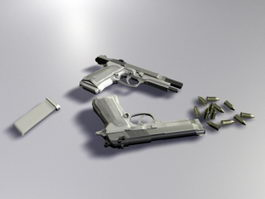 M9 Pistol and Bullets 3d preview