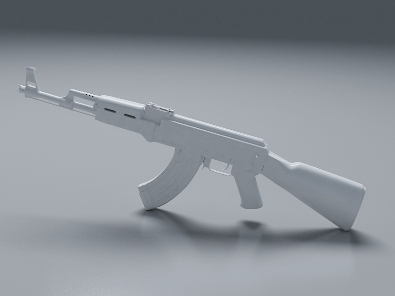 White AK-47 3d rendering
