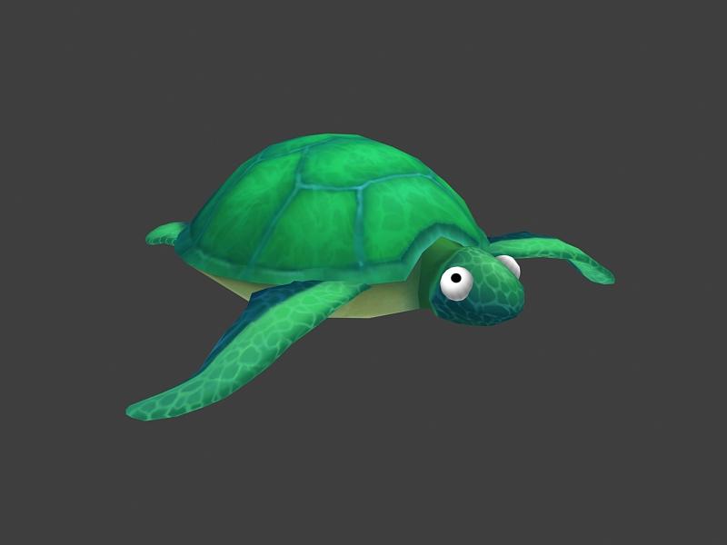 Cartoon Green Turtle 3d rendering