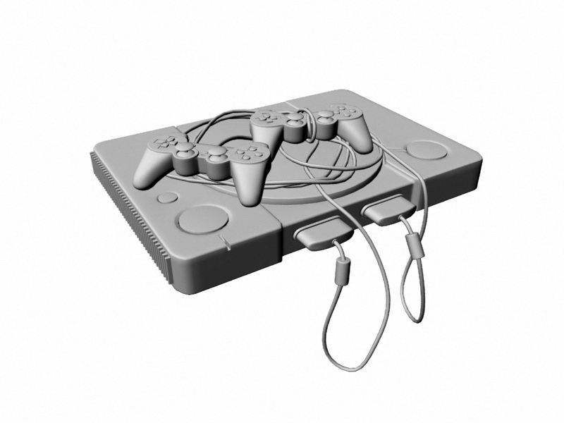 PS one Game Console 3d rendering