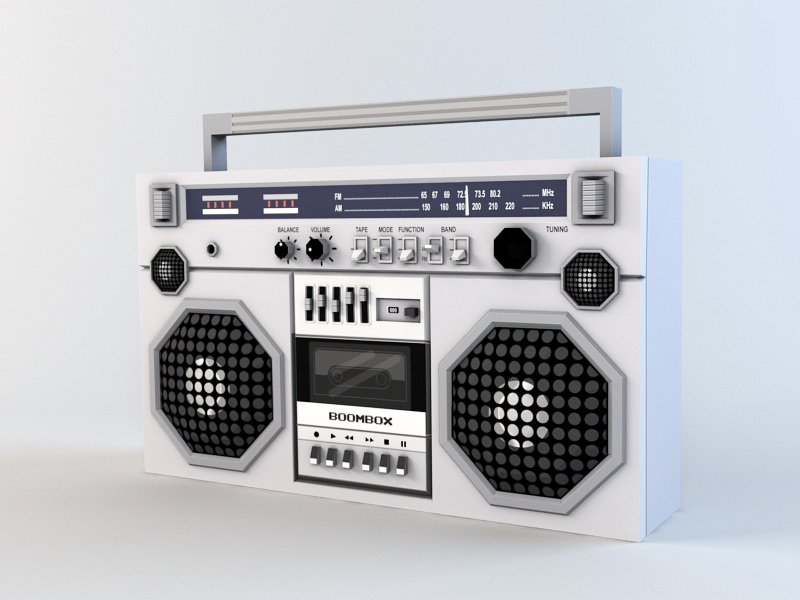 Old Boombox Low Poly 3d rendering