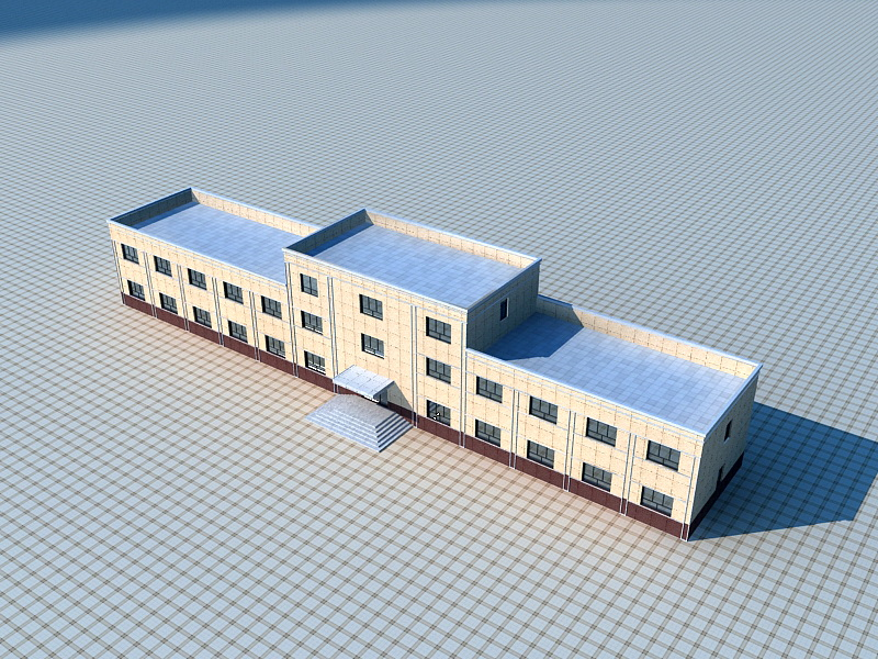 Small Brick Office Building 3d rendering
