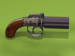 19th-Century Pepperbox Revolver 3d preview