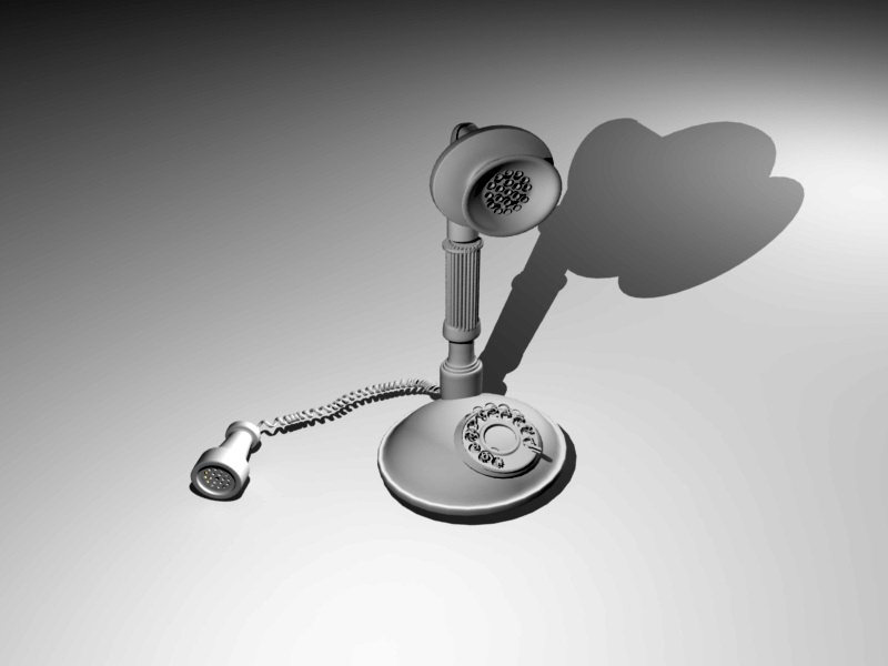 Candlestick Telephone 3d rendering