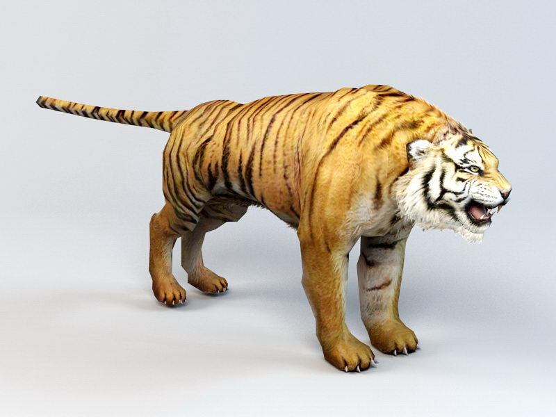 Scary Tiger 3d rendering
