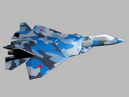Sukhoi T-50 Jet Fighter 3d model preview