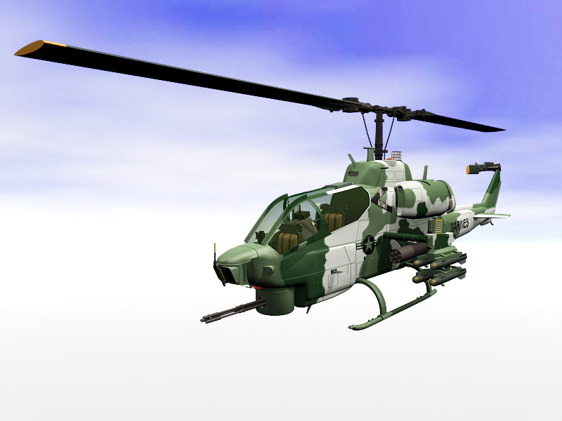 AH-1W SuperCobra Attack Helicopter 3d rendering