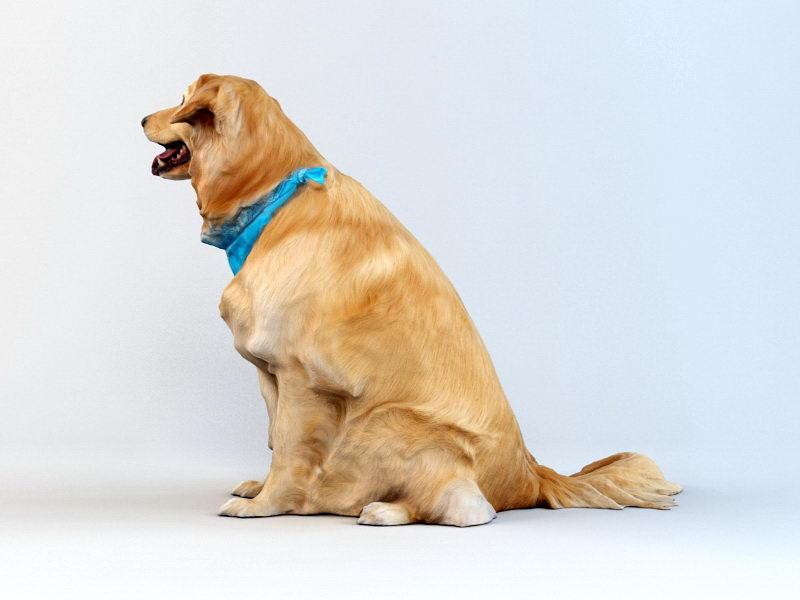 Gold Dog 3d rendering