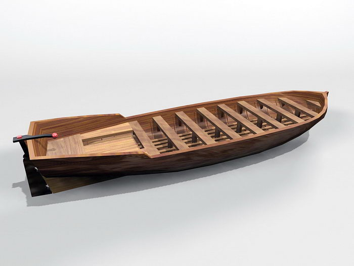 Wood Canoe 3d rendering