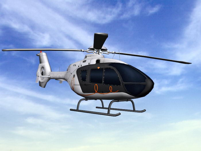 EC135 Civil Helicopter 3d rendering