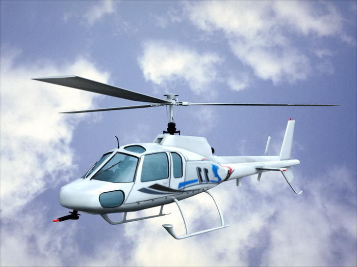 Civil Helicopter 3d rendering