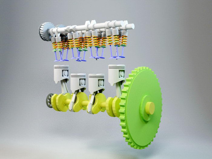 Animated Engine 3d rendering
