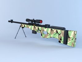 Sniper Rifle Camouflage 3d model preview