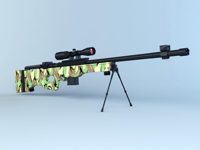 Sniper Rifle Camouflage 3d rendering