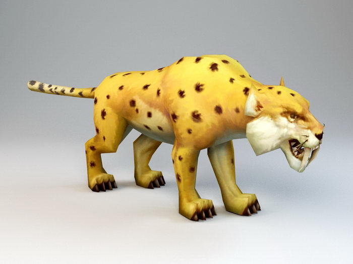 Animated Golden Leopard Rig 3d rendering