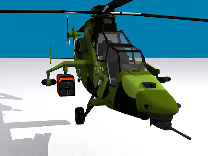 German Army Tiger Helicopter 3d rendering