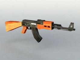 AK-47 Gun Lower Polygon 3d model preview