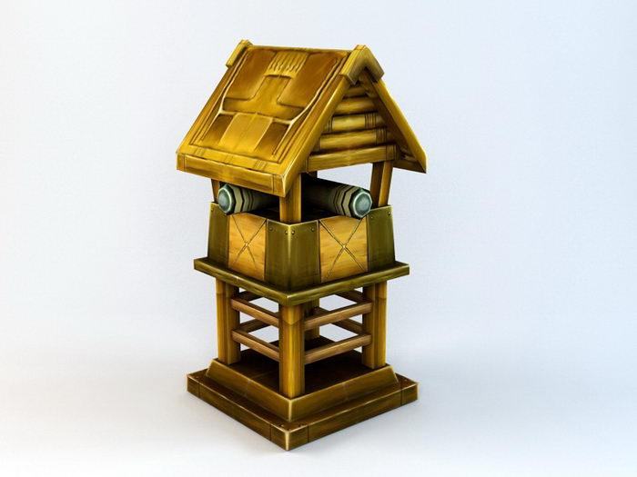 Anime Turret Building 3d rendering