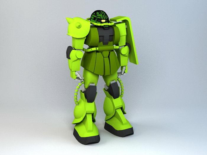 MS-06 Zaku II Gundam 3d rendering