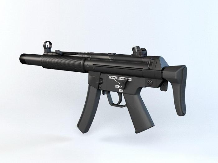 HK MP5SD Submachine Gun 3d rendering