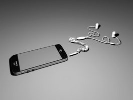 iPhone with Earbuds 3d preview