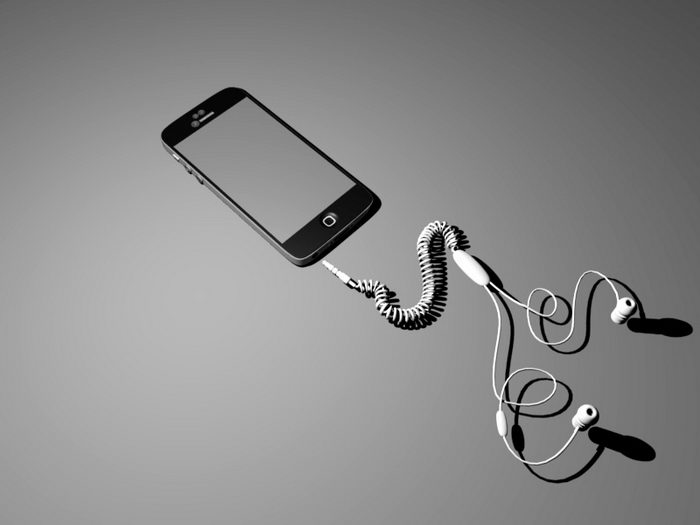 iPhone with Earbuds 3d rendering
