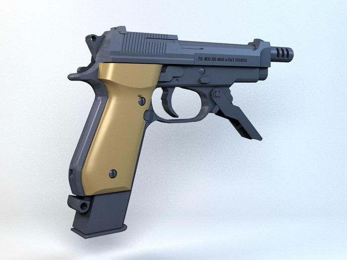 Beretta 93R Machine Pistol 3d rendering