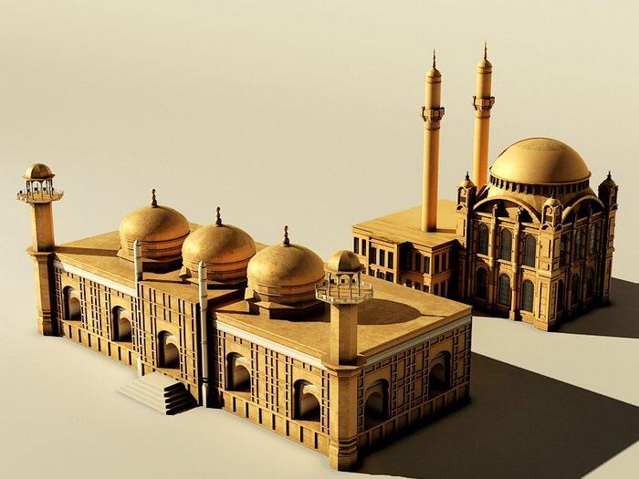 Arabian Castle Buildings 3d rendering