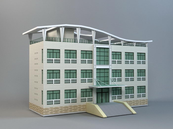 Small Modern Office Building 3d rendering