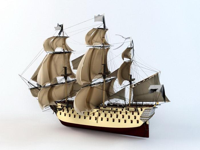 18th Century Sailing Warship 3d rendering
