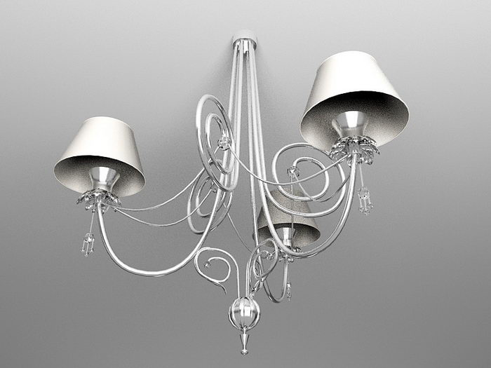 Retro Contemporary Candle Style Chandelier 3d rendering